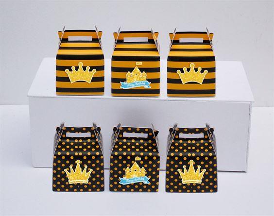 Hộp quà sinh nhật Vương Miện Bé Trai màu vàng đen