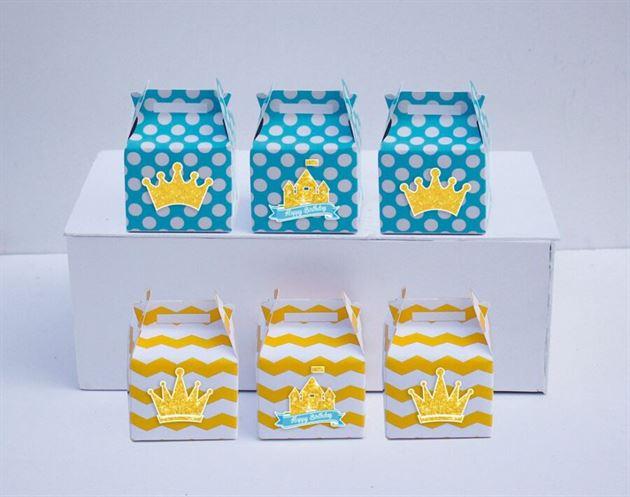 Hộp quà sinh nhật Vương Miện Bé Trai màu vàng xanh min