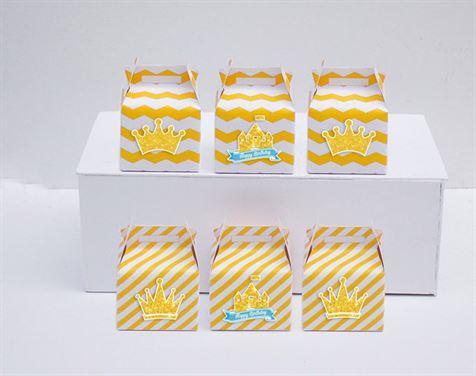 Hộp quà sinh nhật Vương Miện Bé Trai màu vàng zigzag