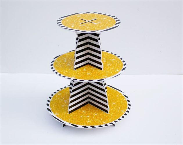 Kệ bánh cupcake màu đen kim tuyến