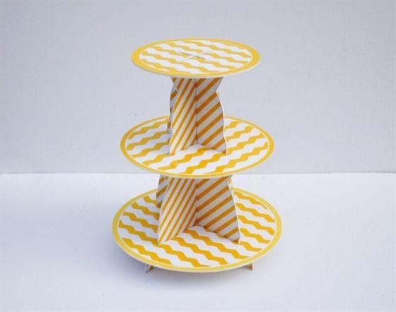 Kệ bánh kem sinh nhật màu vàng sọc zigzag