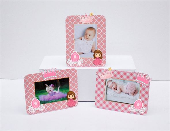 Tem khung hình sinh nhật công chúa màu hồng lưới