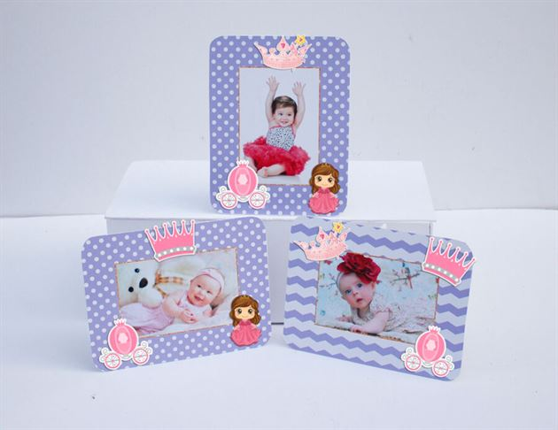 Tem khung hình sinh nhật công chúa màu tím chấm bi