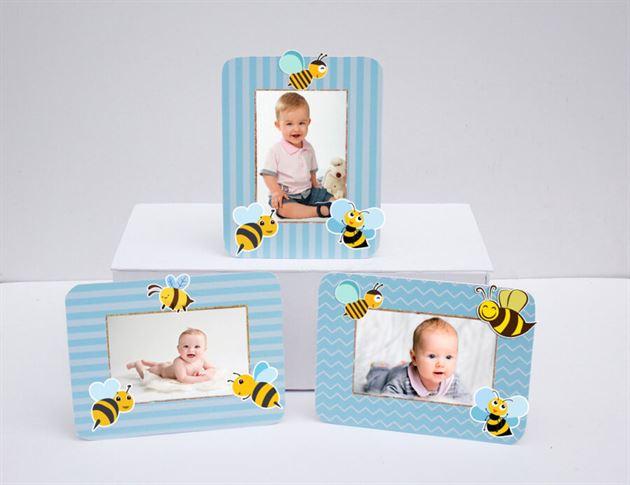 Khung hình sinh nhật Bé Ong màu xanh da trời