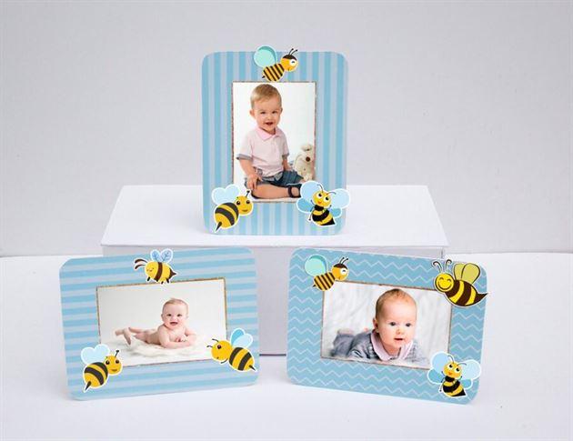 Khung hình sinh nhật bé Ong màu xanh dương