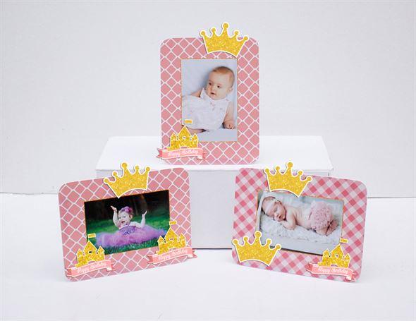Tem khung hình sinh nhật Vương Miện Bé Gái màu hồng lưới