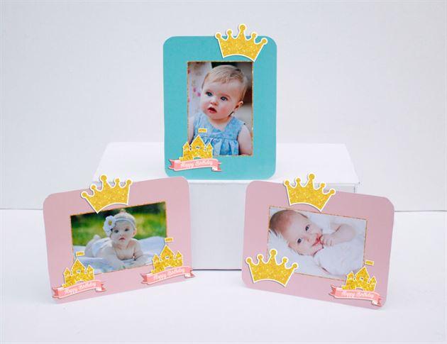 Tem khung hình sinh nhật Vương Miện Bé Gái màu hồng xanh min
