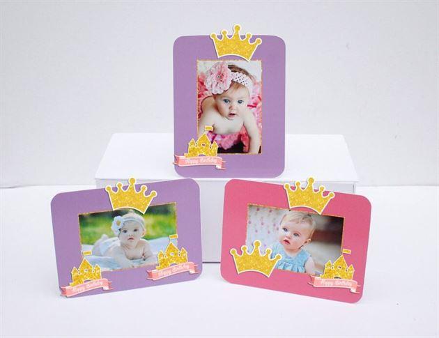 Tem khung hình sinh nhật Vương Miện Bé Gái màu hồng tím
