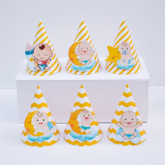 Nón sinh nhật baby boy màu vàng zigzag