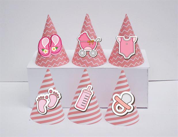 Nón sinh nhật baby girl màu hồng hoàng gia