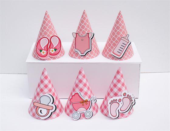 Nón sinh nhật baby girl màu hồng lưới