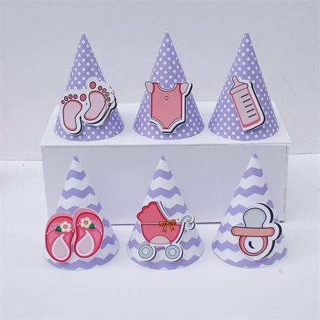 Nón sinh nhật baby girl màu tím chấm bi