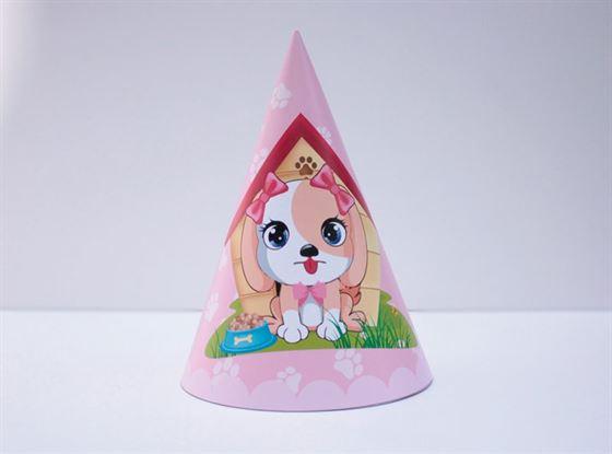 Nón sinh nhật bé gái tuổi chó màu hồng