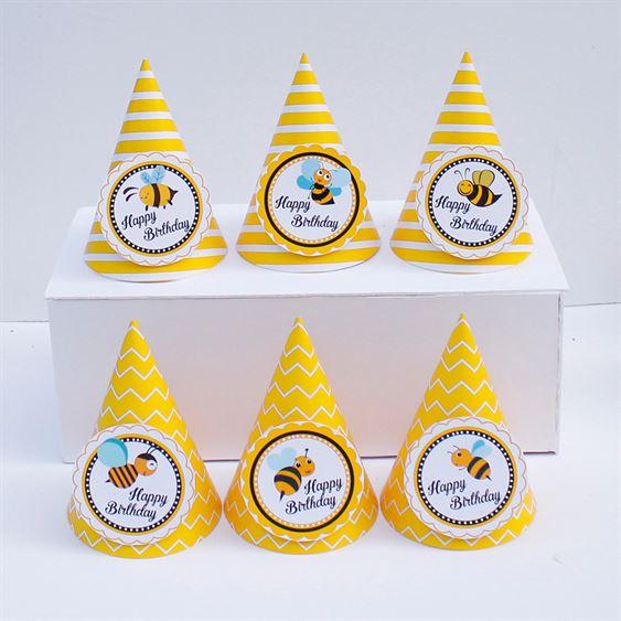 Nón sinh nhật Bé Ong màu vàng hoàng gia