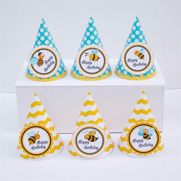 Nón sinh nhật Bé Ong màu vàng xanh min