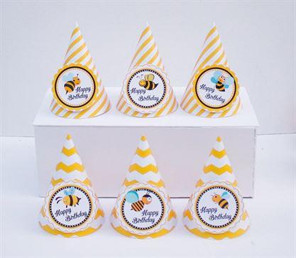 Nón sinh nhật Bé Ong màu vàng zigzag