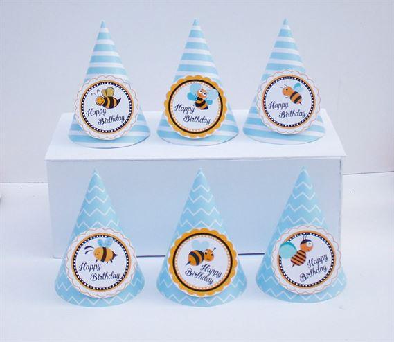 Nón sinh nhật Bé Ong màu xanh da trời