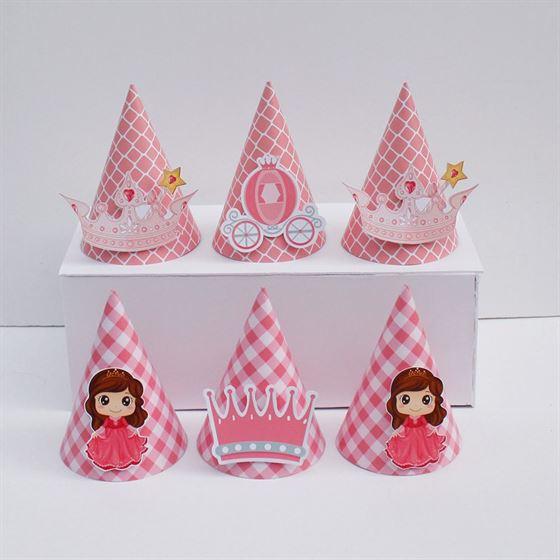Nón sinh nhật Công Chúa màu hồng lưới