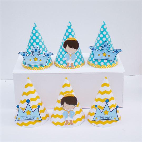 Nón sinh nhật Hoàng Tử màu vàng xanh min