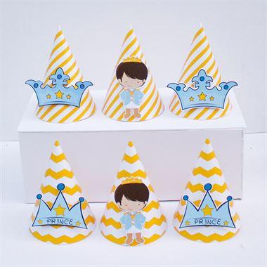 Nón sinh nhật Hoàng Tử màu vàng zigzag