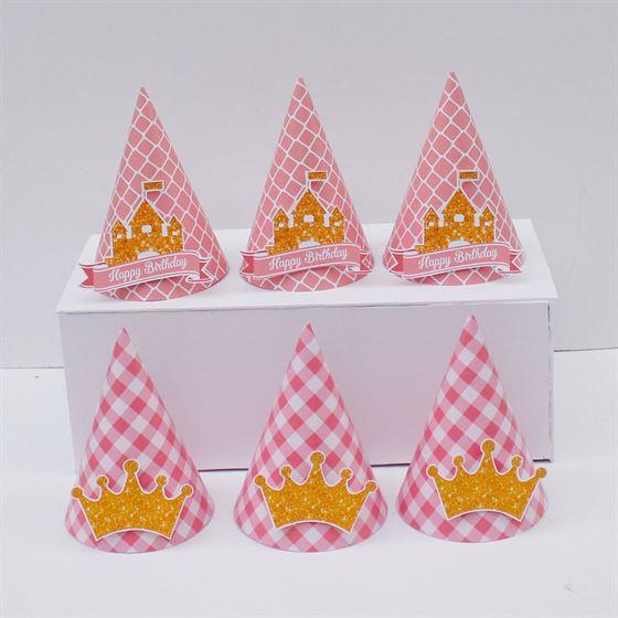 Nón sinh nhật Vương Miện Bé Gái màu hồng lưới