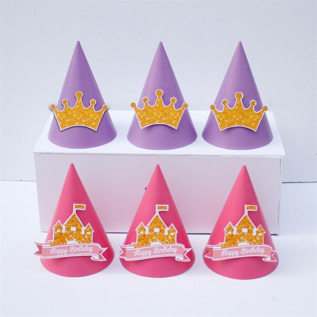 Nón sinh nhật Vương Miện Bé Gái màu hồng tím