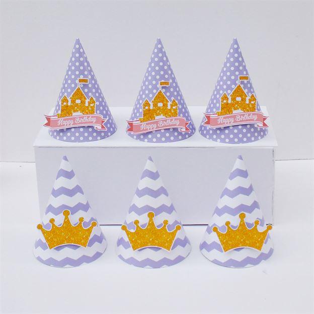 Nón sinh nhật Vương Miện Bé Gái màu tím chấm bi