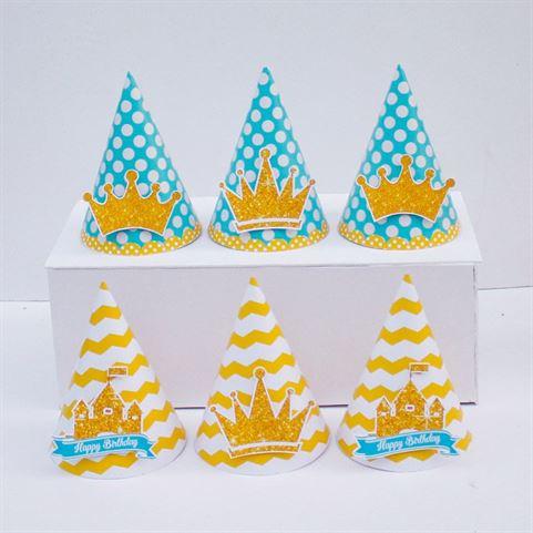 Nón sinh nhật Vương Miện Bé Trai màu vàng xanh min