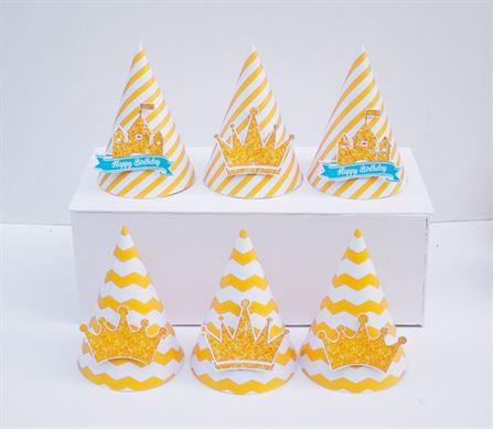 Nón sinh nhật Vương Miện Bé Trai màu vàng zigzag