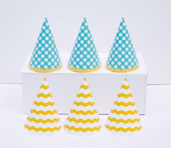 Nón sinh nhật xanh min vàng