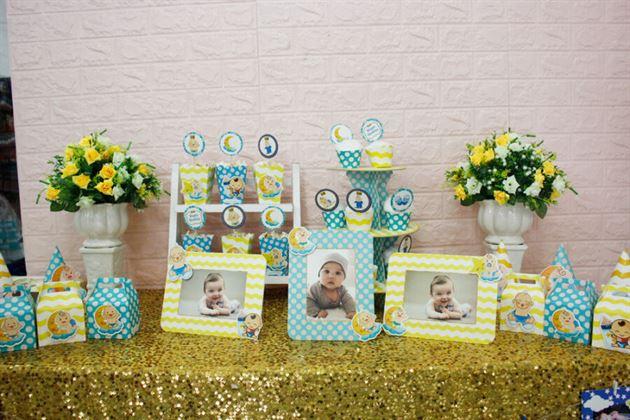 Phụ kiện sinh nhật full set Baby Boy màu xanh min vàng
