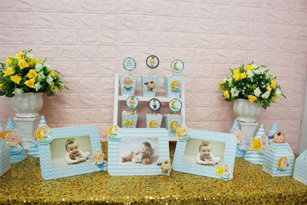Set mini Baby Boy màu xanh da trời trang trí sinh nhật bé trai