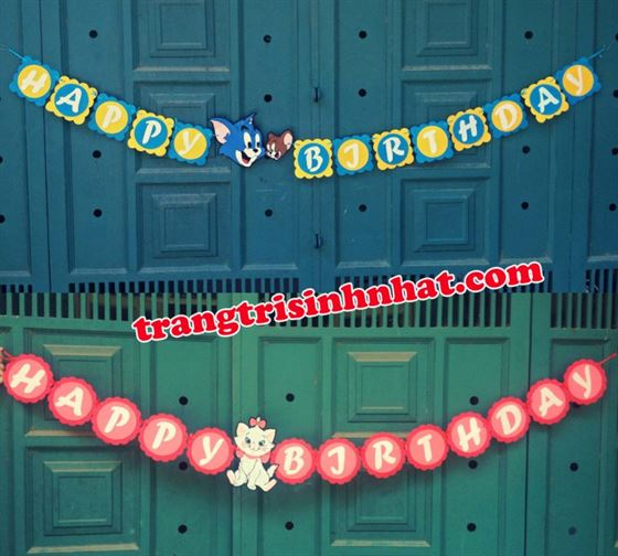 Dây Chữ Happy Birthday vải nỉ Mèo Tôm và Mèo Marrie