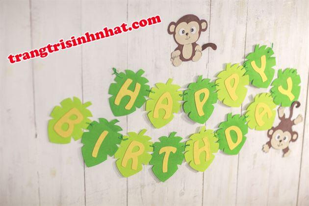 Dây Chữ Happy Birthday vải nỉ Rừng Xanh