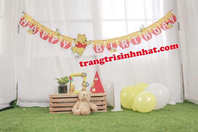 Dây Chữ Happy Birthday vải nỉ Gấu Pooh