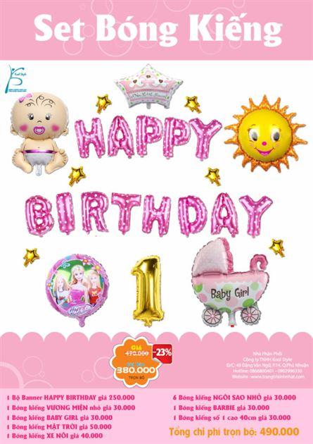 Bộ bong bóng kiếng sinh nhật bé gái 2