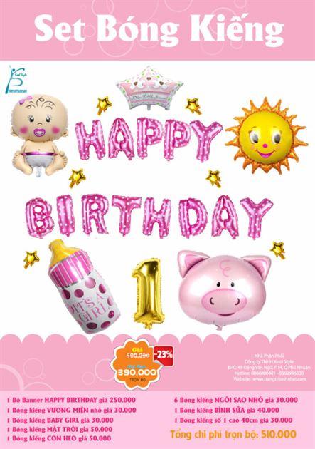 Bộ bong bóng kiếng sinh nhật bé gái 4