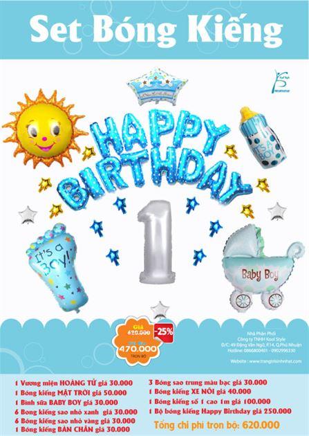 bộ bong bóng kiếng sinh nhật Hoàng Tử