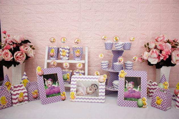 Set đồ sinh nhật bé gái tuổi gà màu tím chấm bi