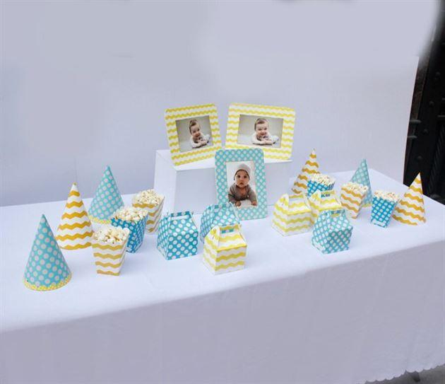 Set phụ kiện trang trí sinh nhật cho bé trai màu xanh min vàng