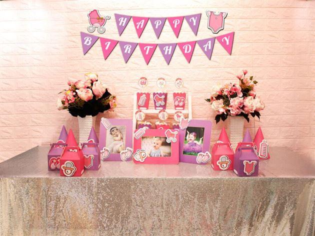 Set mini baby girl màu hồng tím