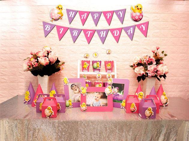 Set phụ kiện sinh nhật bé gái tuổi gà màu hồng tím