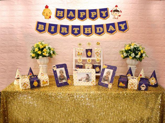 Set phụ kiện sinh nhật bé trai tuổi gà màu xanh hoàng gia