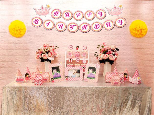 Set mini công chúa màu hồng lưới