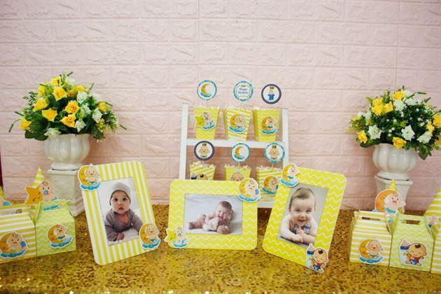 Set mini Baby Boy vàng hoàng gia trang trí sinh nhật bé trai