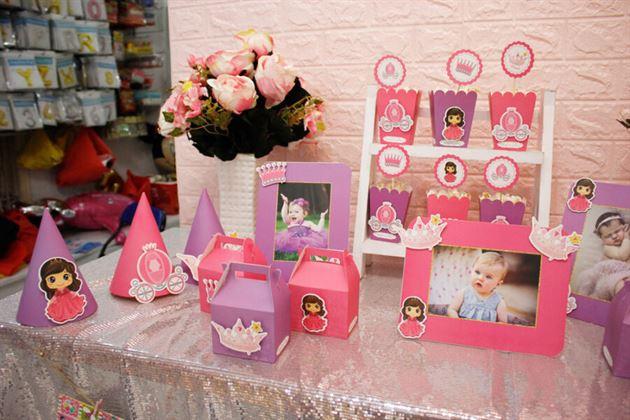 Set mini trang trí sinh nhật tông hồng tím cho bé