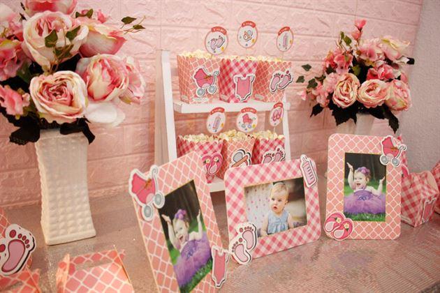 Set mini trang trí sinh nhật màu hồng