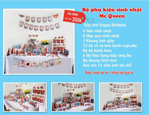 Set phụ kiện sinh nhật mc queen