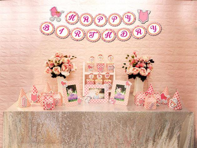 Set mini baby girl màu hồng lưới