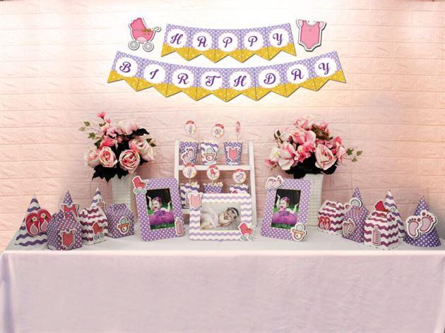 Set mini baby girl màu tím chấm bi
